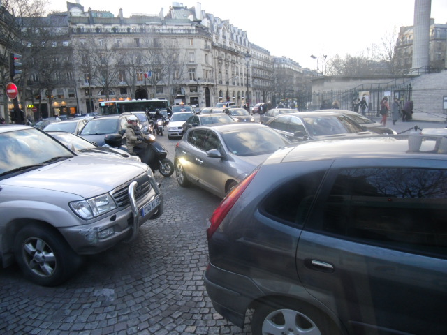 Traffic Jam in Paris at Madeleine