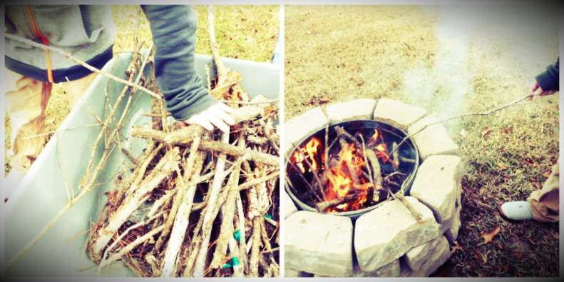 Heidi's oldest builds the pit's first fire.